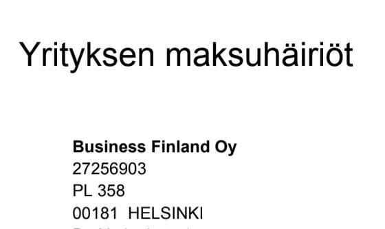 yrityksen maksuhäiriöt business finland